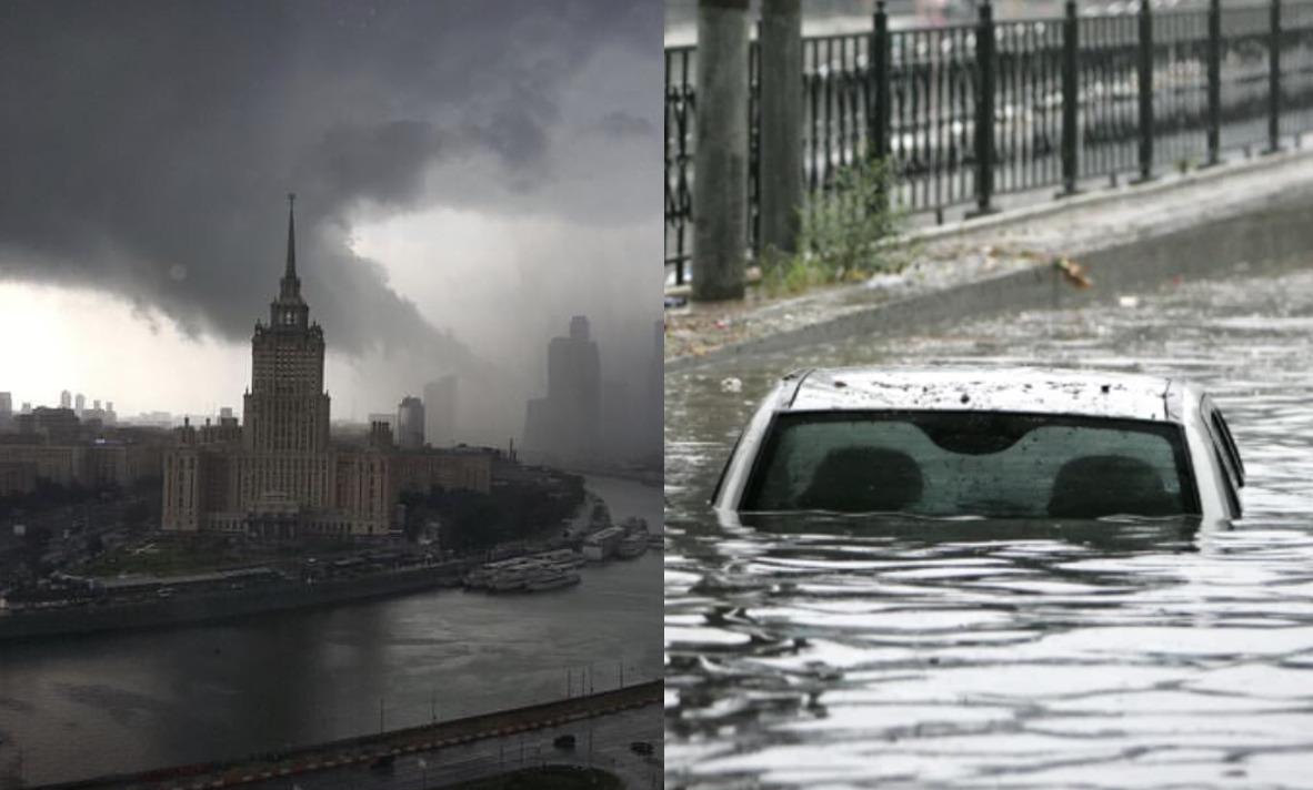 Люди рятуються хто як може! В Москві в ці хвилини почалася небачена раніше рyйнiвнa стиxiя, яка змиває столицю під воду…