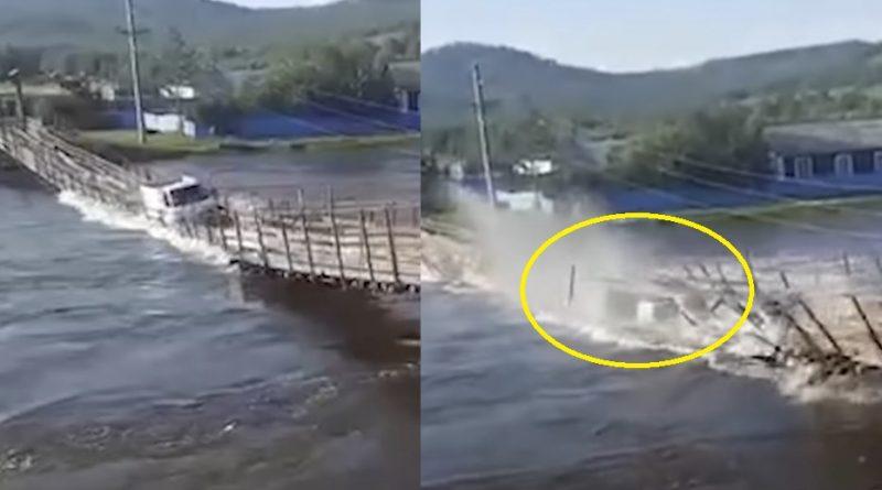 Трагічна помилка. Під час паводку водій ризикнув і поїхав через міст, який від ваги вантажівки просто перекинувся у воду (Відео)