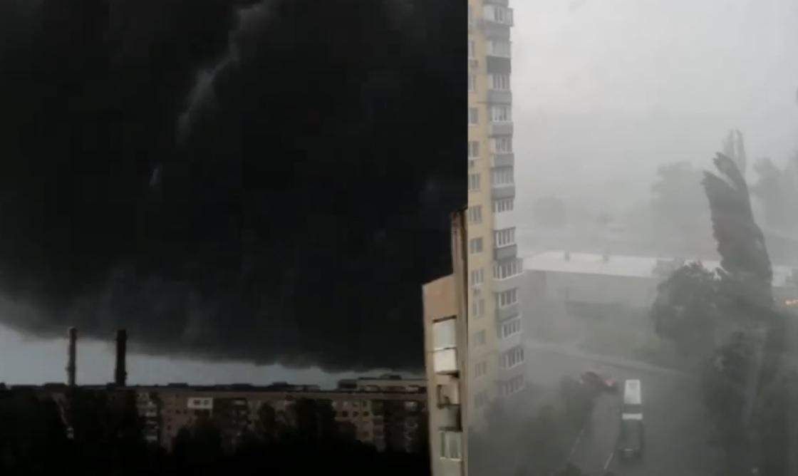 Почорніло за лічені хвилини і відразу почалося: Київ накрив лютий ураган зі зливою, відео раптової бурі…