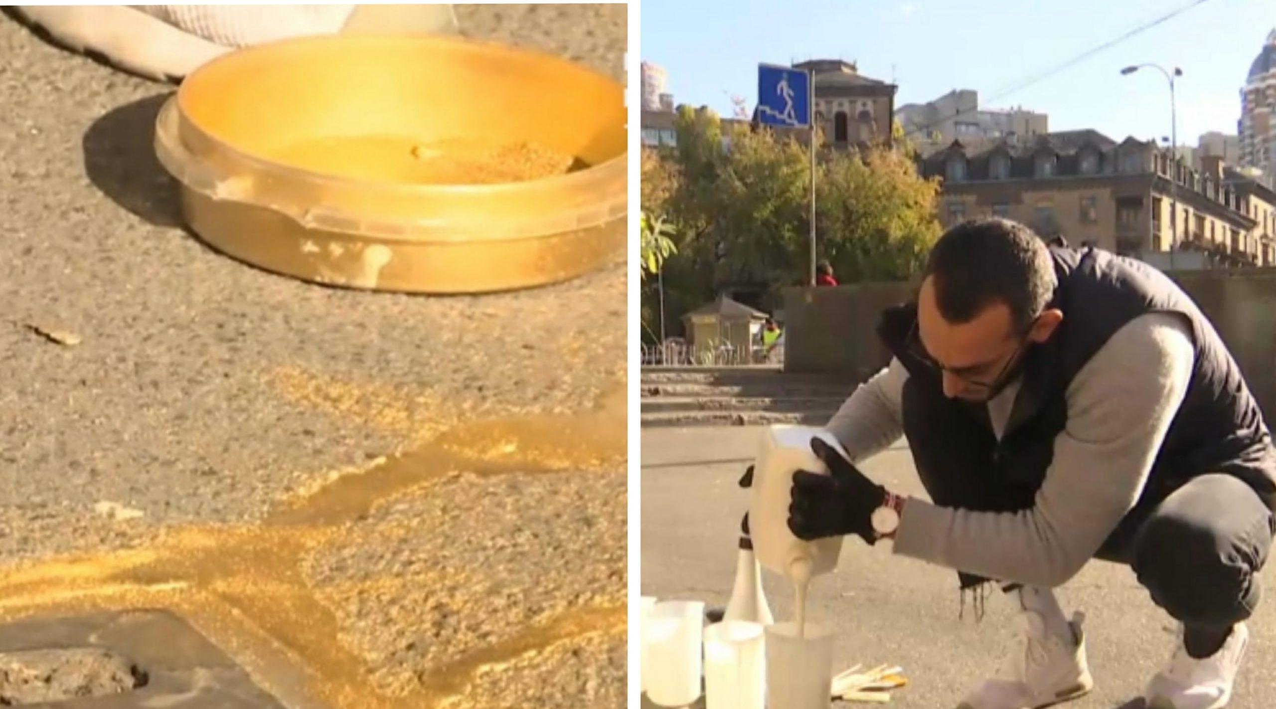 """Столичний скульптор взявся ремонтувати асфальт """"золотом"""" і вразив мережу (відео)"""